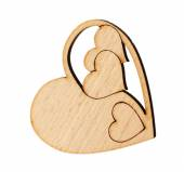 Decorative wooden heart isolated on white — Stock Photo
