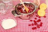 Red raspberries  sugar, lemon and glass jars — Stock Photo