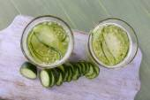 Glasses of cucumber cocktail — Stock Photo