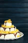 Wedding cake with oranges and chocolate — Stock Photo