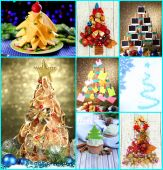 Collage of creative Christmas trees — 图库照片