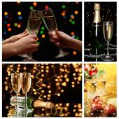 Christmas collage. Glasses of champagne on  shine  background — Stock Photo