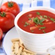 Tasty tomato soup with croutons on table close-up — Stock Photo #53232889