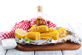 Grilled corn cobs on table, close-up  — Stock Photo