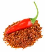Milled red chili pepper  isolated on white — Stock Photo