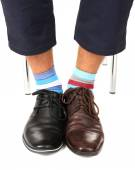 Man leg in suit and colorful socks — Stock Photo