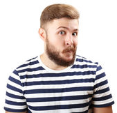 Portrait of handsome man with beard isolated on white — Stock Photo