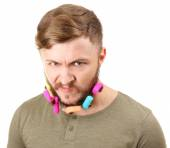 Portrait of handsome man with beard of curlers isolated on white — Stock Photo