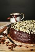 Chocolate cake with almond — Stock Photo