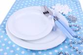 White plates, fork and knife — Stock Photo