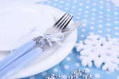 White plates, fork and knife — Stock fotografie