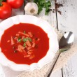 Tasty tomato soup with croutons on table close-up — Stock Photo #53290573