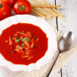 Tasty tomato soup with croutons on table close-up — Stock Photo #53290589