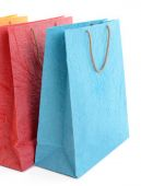 Paper shopping bags isolated on white — Stock Photo