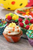 Birthday cupcakes — Stock Photo