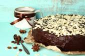 Chocolate cake with almond — Foto de Stock