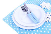 Plates with fork and knife — Foto de Stock
