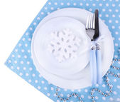 White plates, fork and knife — Stockfoto
