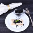 Bread with  black caviar — Stockfoto #53409075
