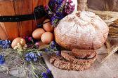Wooden basket with vegetables — Fotografia Stock