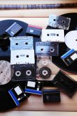 Collection of retro audio tapes, close up — Stock Photo