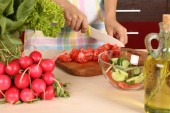 Cooking vegetable salad — Stock Photo