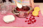 Cooking raspberry jam — Stock Photo