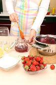 Cooking strawberry jam — Stock Photo