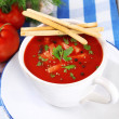 Tasty tomato soup with croutons on table close-up — Stock Photo #53433235