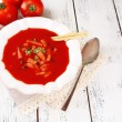 Tasty tomato soup with croutons on table close-up — Stock Photo #53433245
