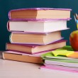 School supplies on table on board background — Stock Photo #53434425