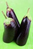 Aubergines on green — Stock Photo