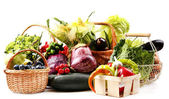 Vegetables in baskets — Stock Photo