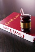 Book with gavel — Stock Photo
