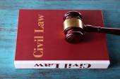 Law book with gavel — Stock Photo