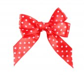 Red polka dot bow — Stock Photo
