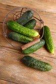 Cucumbers in basket — Stock Photo