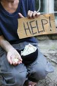 Homeless beggar — Stock Photo