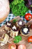 Fried aubergine with cottage cheese — Stock Photo