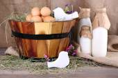 Round basket with dried grass — Stock Photo