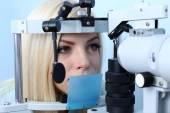 Woman having her eyes examined — Stock Photo