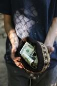 Homeless beggar money  — Stock Photo