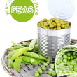 Fresh  and canned peas in tin on wicker mat, isolated on white — Stock Photo #53853505