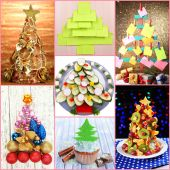 Collage of creative Christmas trees — Stock Photo