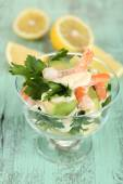 Tasty salads with shrimps — Stock Photo