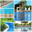 Collage of photos with swimming pool — Stock Photo #53949615
