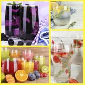 Collage of cold summer beverages — Stock Photo