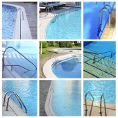 Collage of photos with swimming pool — 图库照片