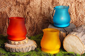 Bright icon-lamps on moss — Stock Photo