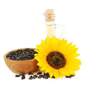 Sunflower with seeds and oil — Stock Photo